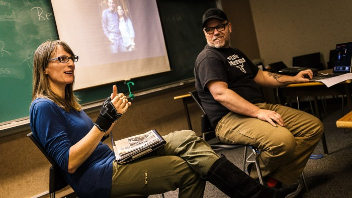 """Author Lily Gontard and photographer Mark Kelly presented to the Whitehorse Photography club, discussing the power of collaboration and how it lead to the publishing of their book 'Beyond Mile Zero: The Vanishing Alaska Highway Lodge Community""""."""